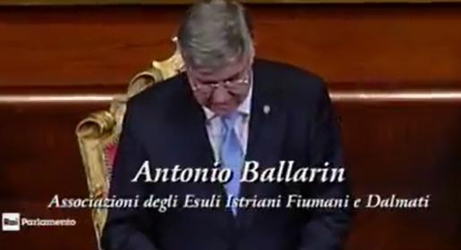 Febbraio 2018 – Giorno del Ricordo – Intervento di Antonio Ballarin al Senato