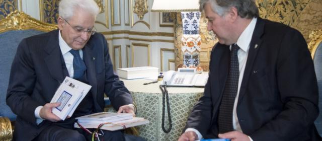 Palazzo del Quirinale 15.02.2017 – Il Presidente Sergio Mattarella con Antonio Ballarin Presidente della FederEsuli