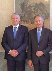 Il Ministro Enzo Moavero Milanesi con il Presidente della FederEsuli Antonio Ballarin
