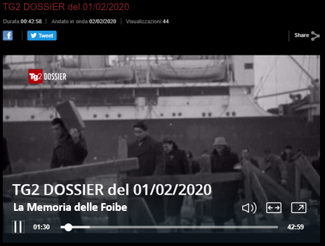 "TG2 Dossier ""La memoria delle Foibe"" Sabato 1 febbraio 2020 su RaiDue"